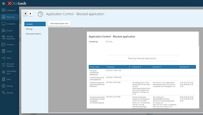 Drivelock Operations Center Reporting Application Control - Blocked Applications