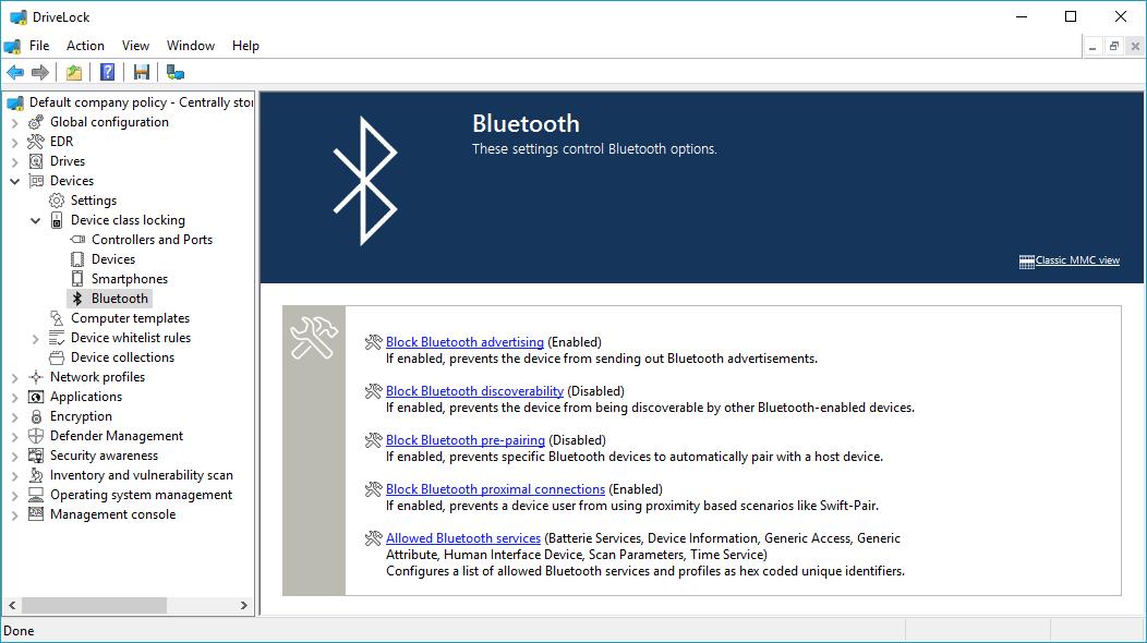 Bluetooth-Einstellungen im Modul Device Control